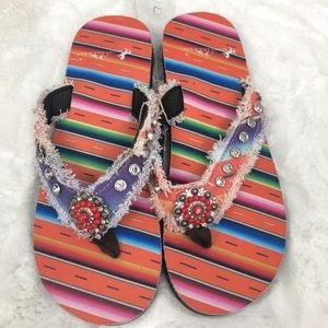 Montana West Embellished Flip Flop Sandals NEW